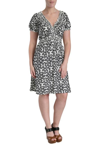 Samya Geometric print dress with crossover