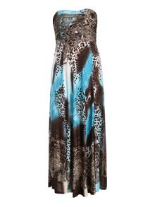 Halterneck leopard maxi dress
