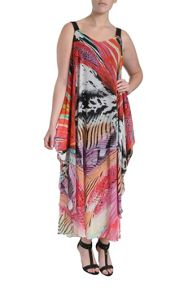 Tribal draped maxi dress
