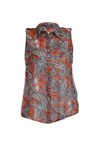 Sleeveless shirt in paisley