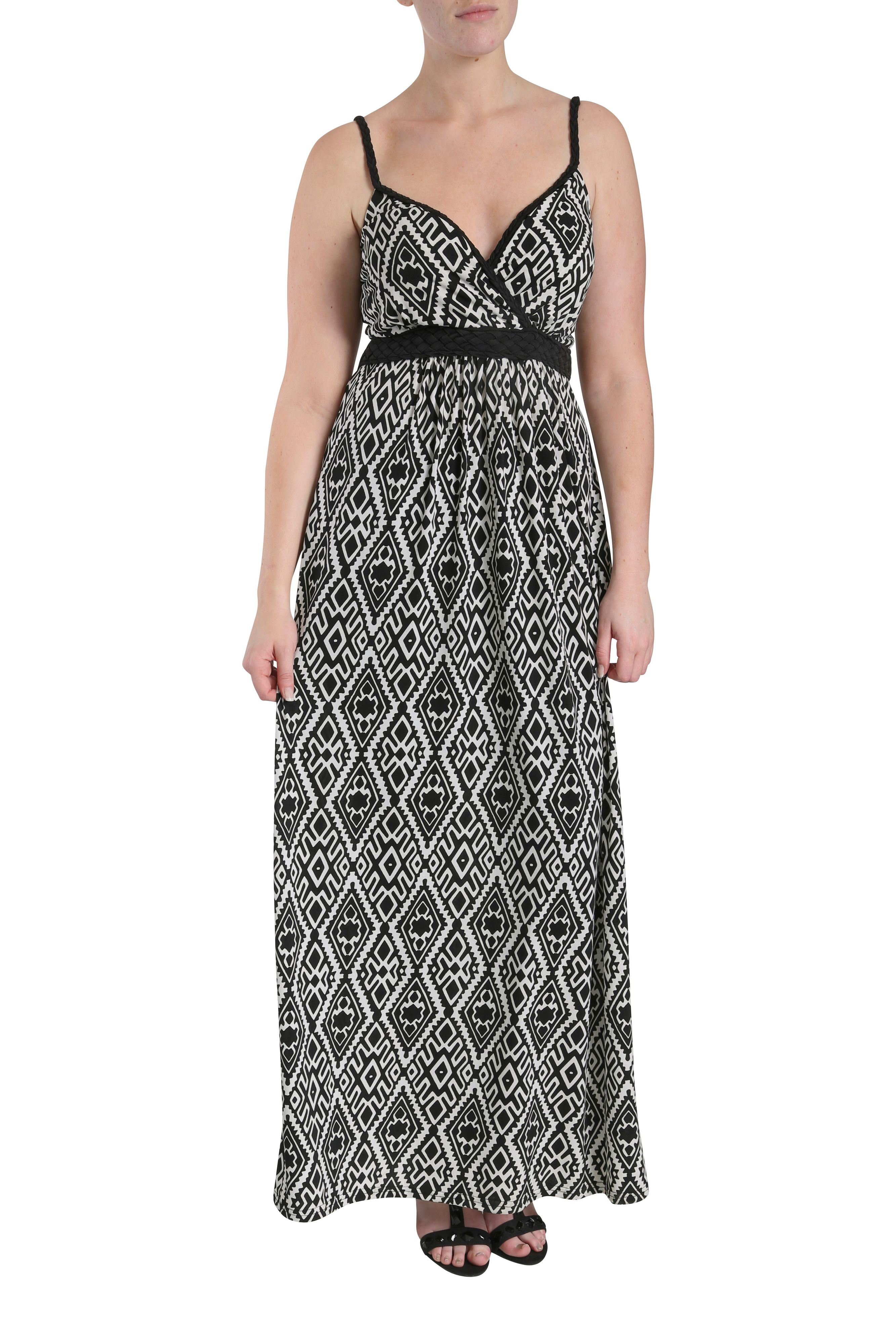 Plaited straps graphic print maxi dress