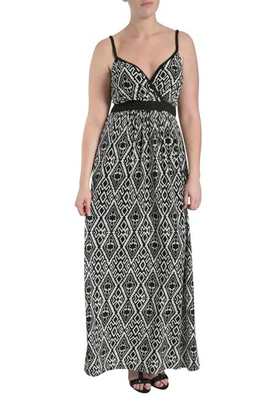 Samya Plaited straps graphic print maxi dress
