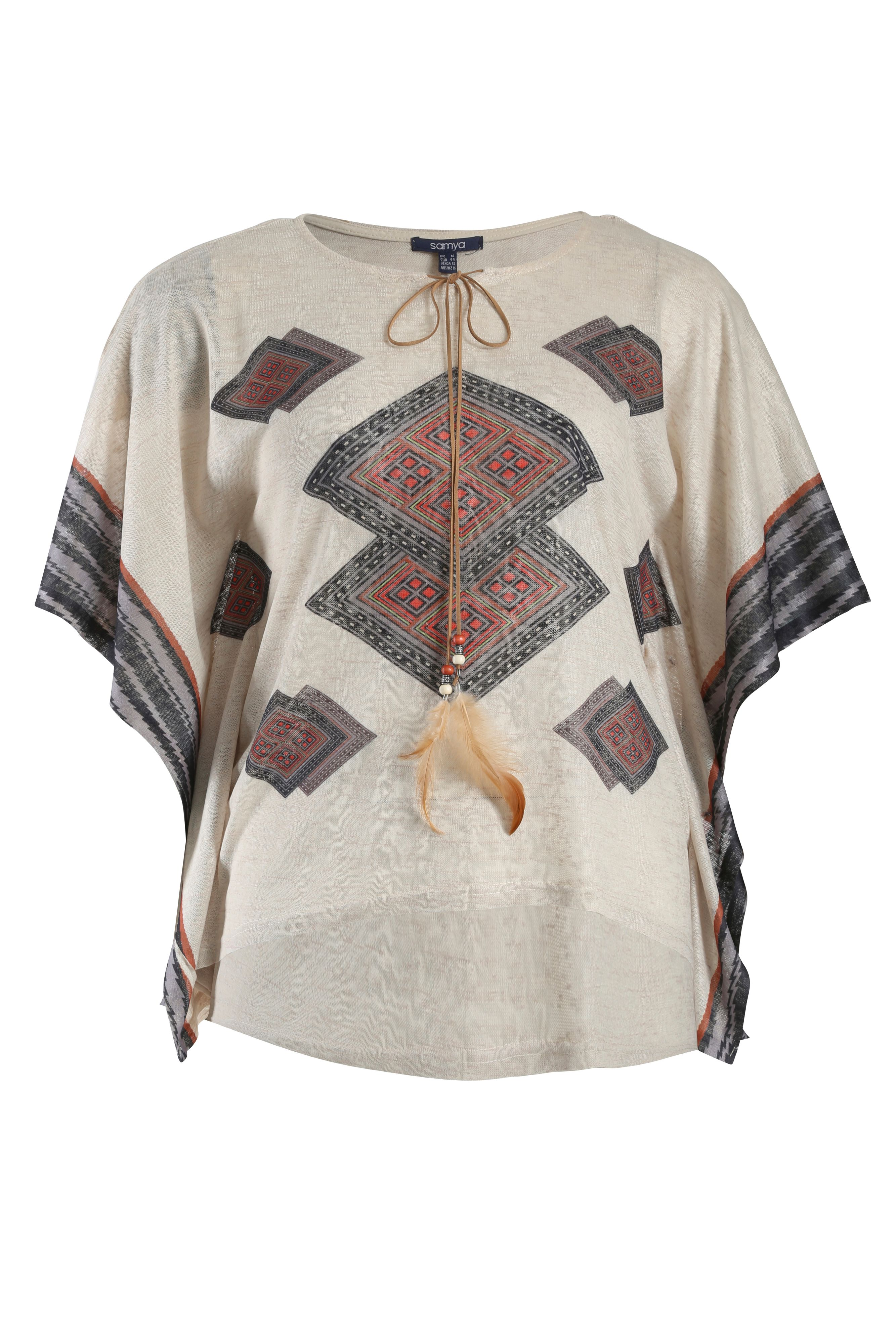 Tribal print top with drawstring