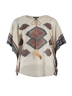 Plus Size Tribal print top with drawstring