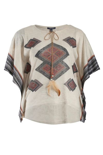 Samya Plus Size Tribal print top with drawstring