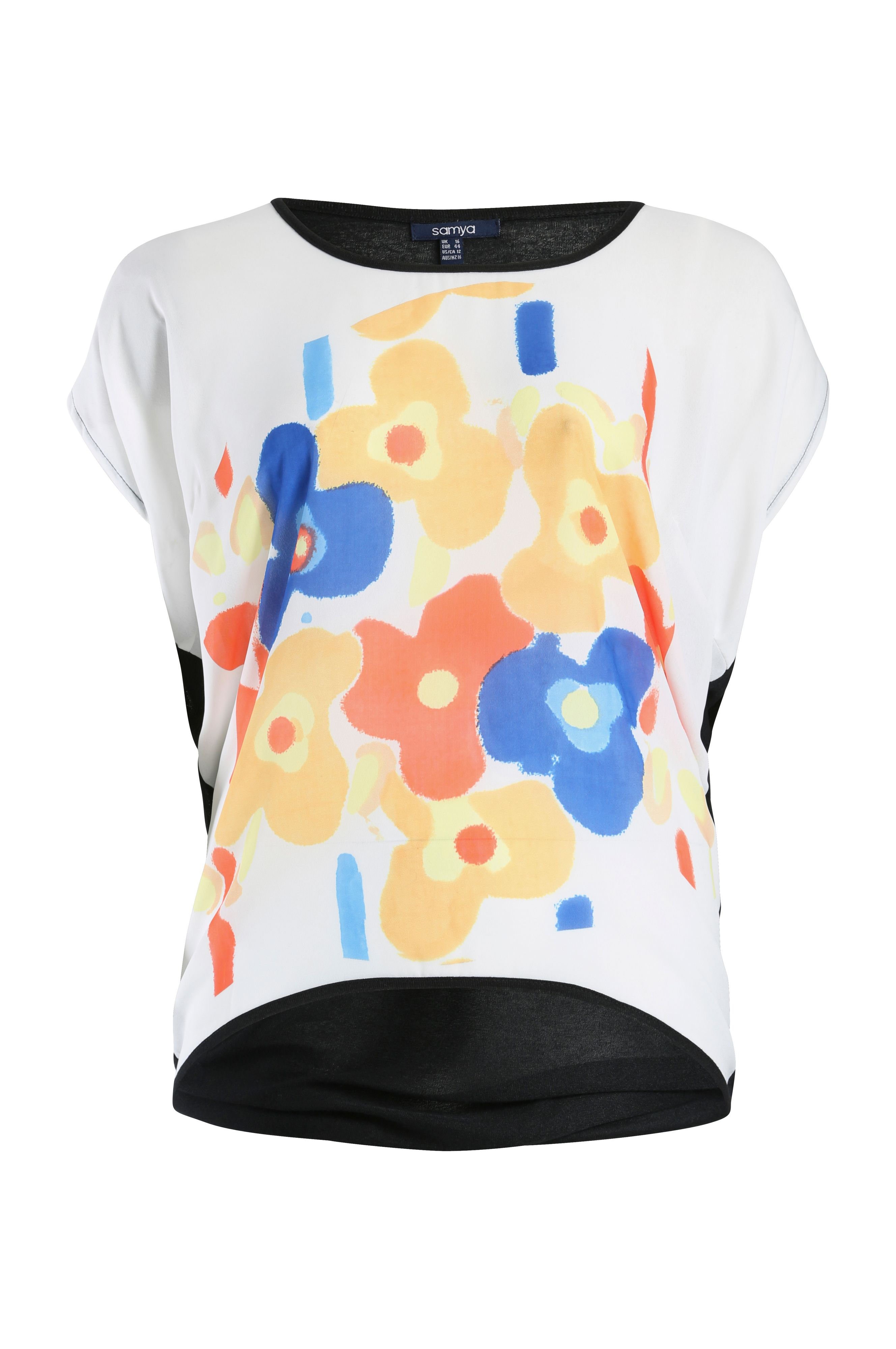 Contemporary floral print knit top