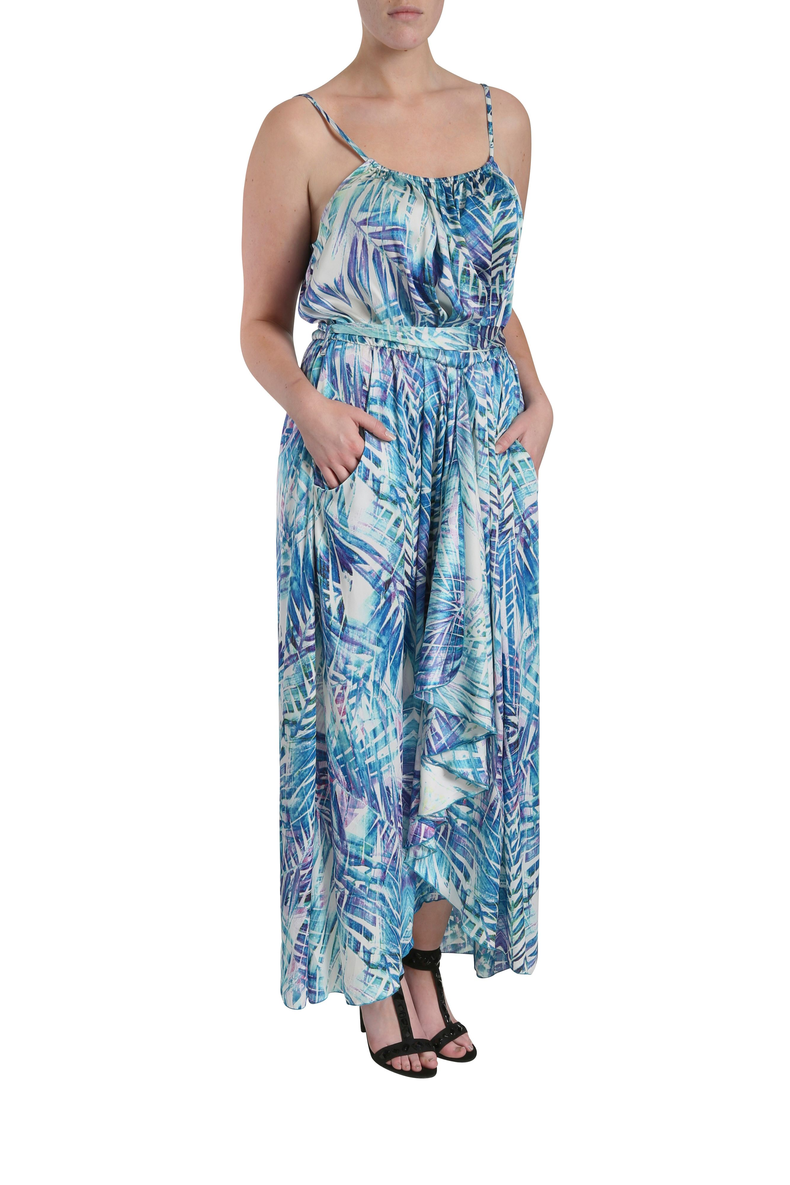 Palm tree waterfall maxi dress