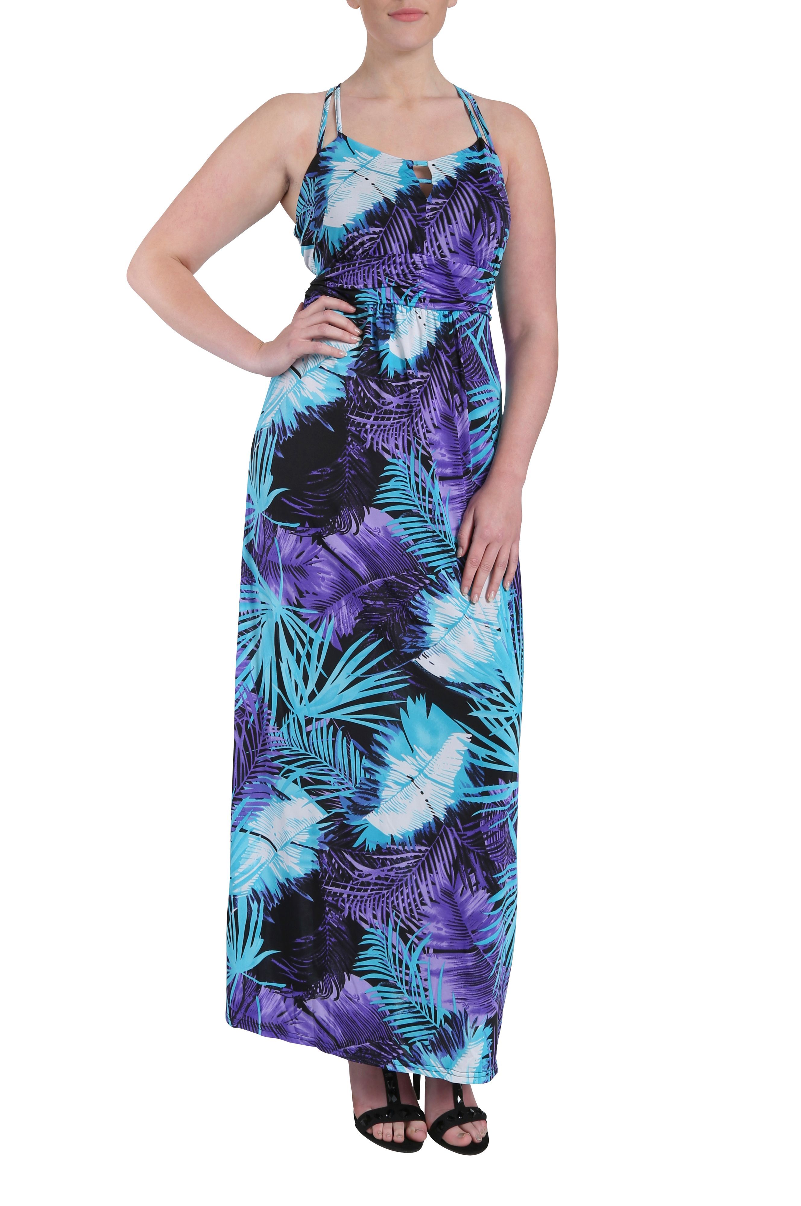 Exotic leaves print strap dress