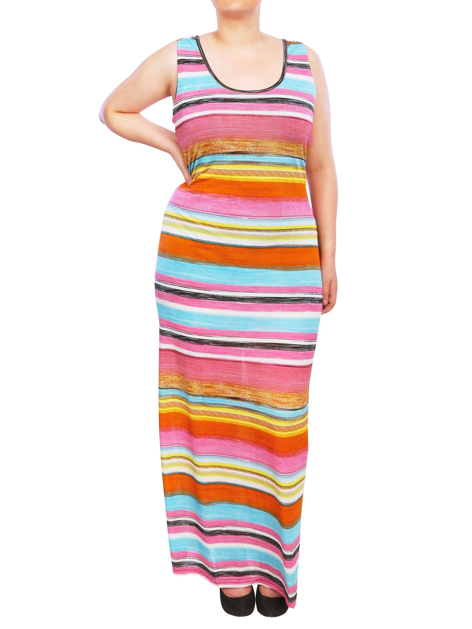 Striped maxi dress with open back