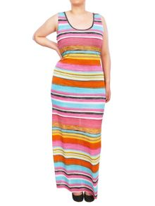 Samya Striped maxi dress with open back