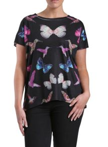 Embellished oversized butterfly top