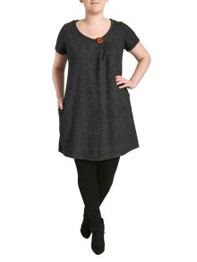 Knit Top With Button Neck & Pockets