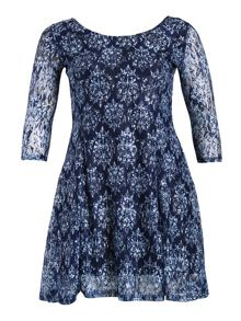 Samya Lace Baroque Print Dress