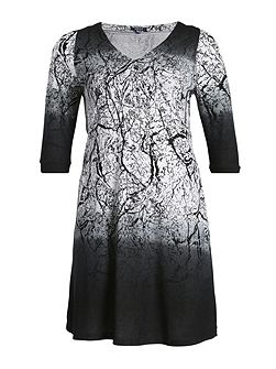 Buttoned Forest Print Dress