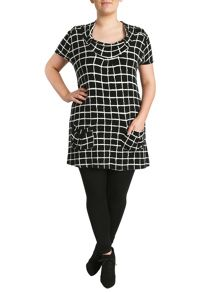 Grid Print Pocket Dress