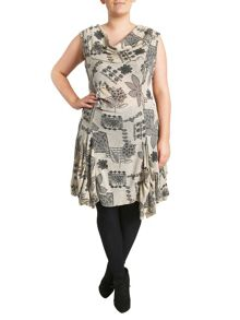 Cowl Neck Floral Tunic With Uneven Hem
