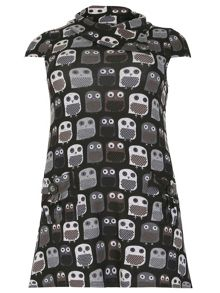 Samya Short Sleeve Owl Print Dress