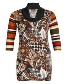 Abstract Cowl Neck Dress
