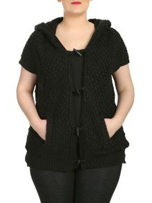 Plus Size Hooded Toggle Cardigan