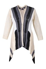 Plus Size Waterfall Open Knit Cardigan