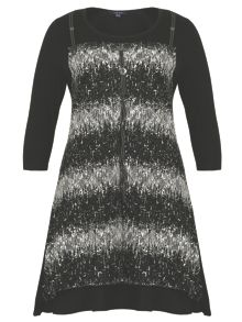 Abstract Lace Panel Dress