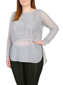 Plus Size Sequin Crochet Layer Jumper