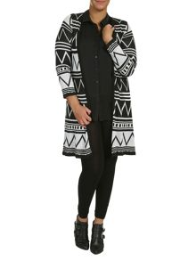 Plus Size Aztec Long-Line Cardigan