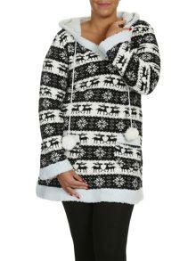 Samya Plus Size Fair Isle Hooded Top