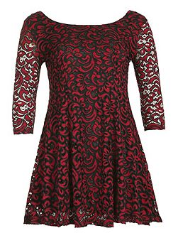 Plus Size Paisley Lace Skater Dress