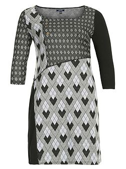 Plus Size Geometric Check Print Dress