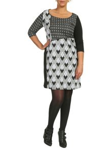 Samya Plus Size Geometric Check Print Dress