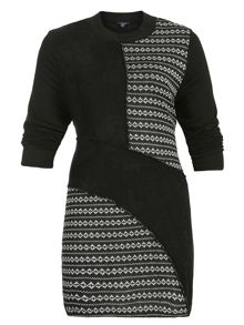 Samya Plus Size Geometric Panel Print Dress