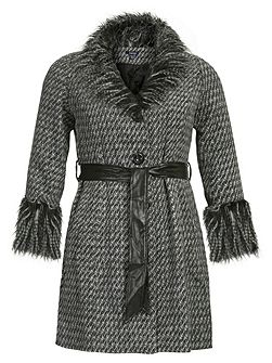 Shawl Faux Fur Details Check Knit Coat