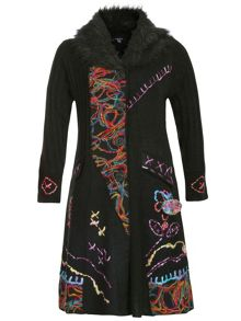 Plus Size Embroidered Long-Line Cardigan