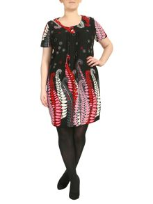 Samya Plus Size Paisley Button Detail Dress