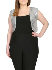 Plus Size Sequin Embellished Cardigan