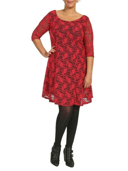 Samya Plus Size Rose Lace Skater Dress