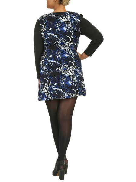 Samya Plus Size Two-Tone Leopard Print Dress