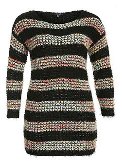 Plus Size Colourful Bobble Knit Jumper