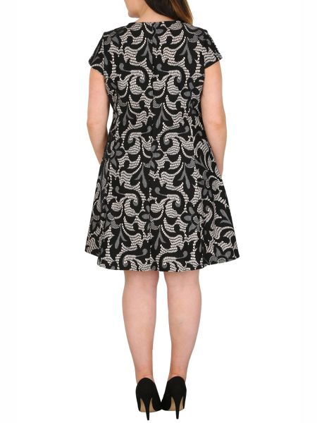 Samya Plus Size Floral Lace Effect Dress