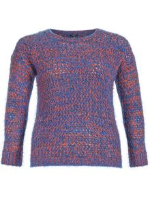 Plus Size Neon Mohair Knitted Pullover