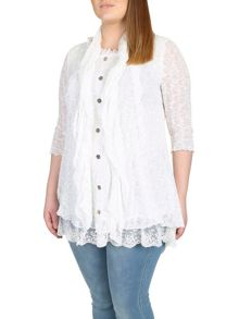 Plus Size Lace Button Up Top