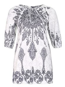 Embellished Paisley Print Dress