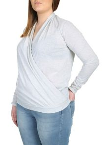 Plus Size Gathered Wrap Front Top