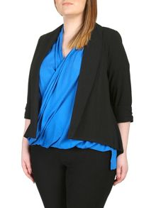 Plus Size Chiffon Dipped Hem Jacket