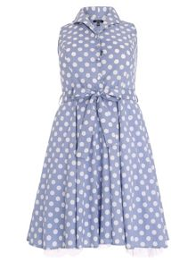 Samya Plus Size Polka Dot Midi Dress