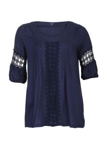 Plus Size Decorative Crochet Detail Top