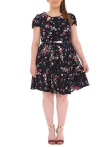 Plus Size Belted Botanical Print Dress