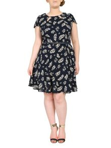 Plus Size Cut Out Printed Dress