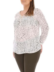Samya Plus Size Crackle Print Top